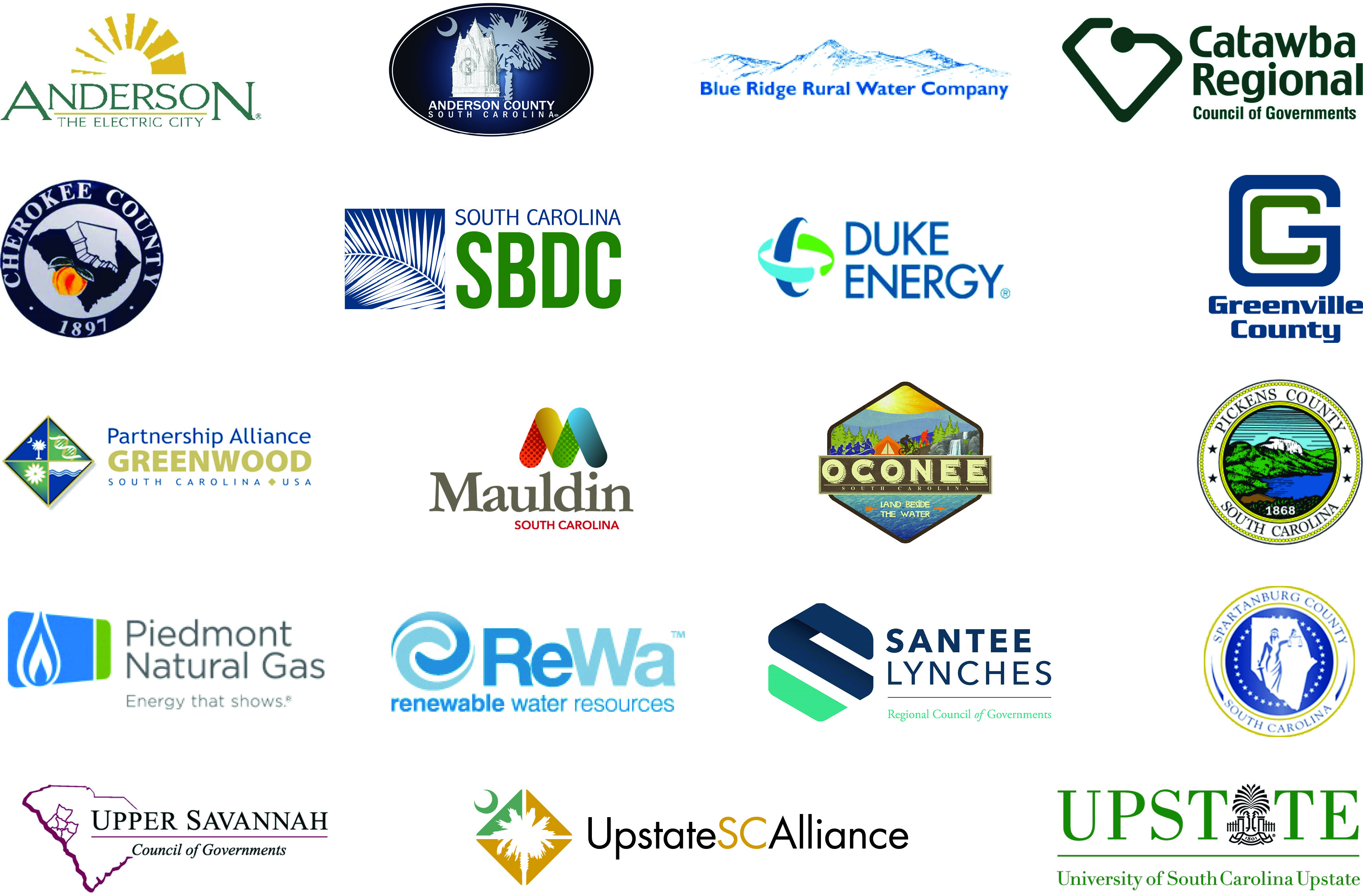 Collection of logos from economic development agencies, regional COGs, and other economic development stakeholders that invest in Infomentum